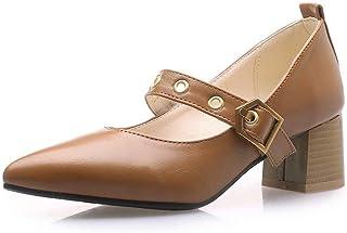 BalaMasa Womens APL11868 Microfiber Mary Jane Heels