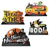 Inspireyee Juego de 4 piezas de madera para decoración de mesa de Halloween, decoración de mesa dulce o ácida, decoración de mesa de madera para tienda de casa, oficina, fiesta de Halloween (A)