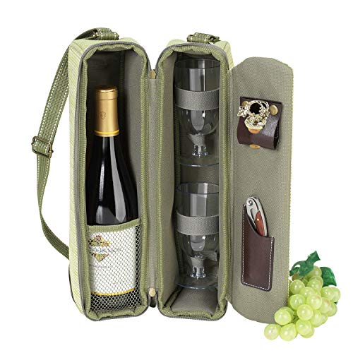 Picnic at Ascot Insulated Wine Tote with 2 Wine Glasses, Corkscrew & Wine Stopper -Designed & Assembled in the USA