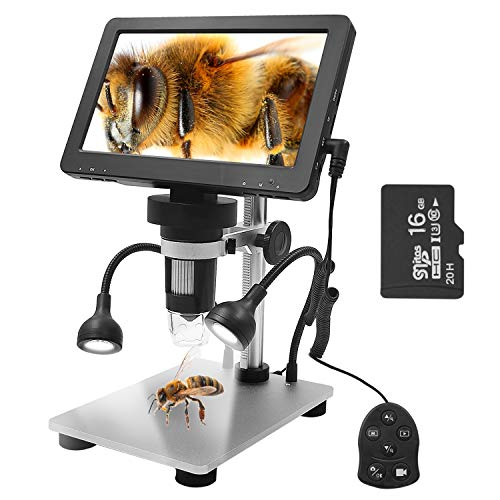 Leanking 7 inch LCD Digital USB Microscope 16G TF Card1200X Magnification Handheld Microscope with Video Recorder for Coin Outdoor Observation PCB Repair