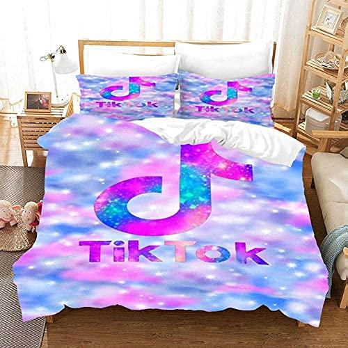 YZLOVGZ Bettwäsche 140X200 Mädchen Kinder 3 Teilig Blau Und Pink 3D Effekt Bettwaren & Bettwäsche Für Teenie Bettbezug Für Mädchen Kinder Jungen Microfaser Mit Reißverschluss(A91)