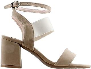 Ayakland 11005-257 Günlük 7 Cm Topuk Bayan Süet Sandalet Ayakkabı Krem
