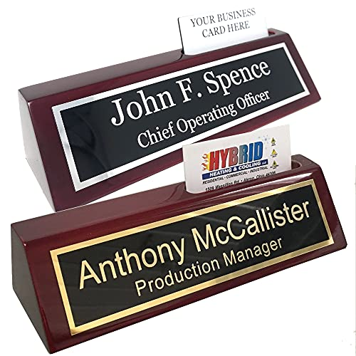 Custom Desk Name Plate with Business Card Holder - Includes Engraving - Choose Your Metal Plate (Black/Gold Metal Plate)