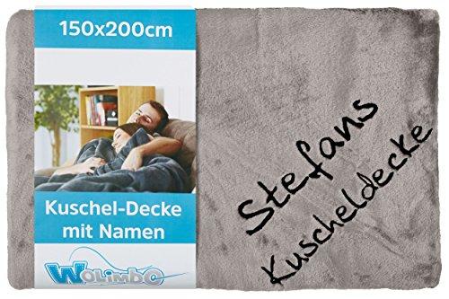 Wolimbo Kuscheldecke - 200 x 150cm - Silber - personalisierbar - Wohndecke mit Wunsch Name/Motiv - weiche Decke - bestickte Couchdecke - Schlafdecke