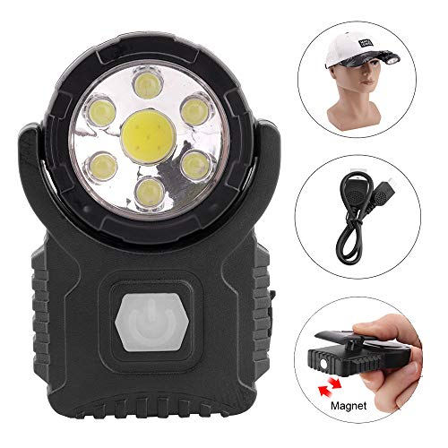 BESTSUN Cap Light USB wiederaufladbar, Clip on LED Lights für Baseball Cap, Ultra Bright 7 LED/Magnet/Drehbar / 3 Modi