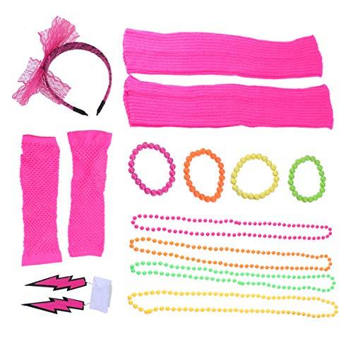 TOYANDONA Frauen Spitze Stirnband neon Ohrringe Fingerlose netzhandschuhe perlenhalsketten beinhülsen für Party Festival Haarschmuck (Rosy)