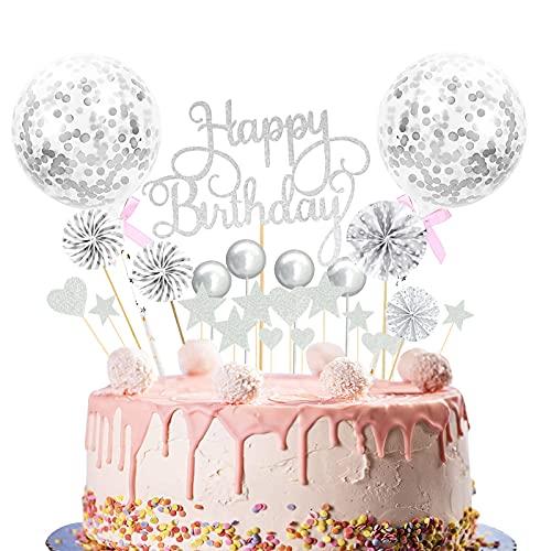 Happy Birthday Tortendeko, Kuchen Deko Torte Kinder,Kuchen Topper Geburtstag Happy Birthday Tortendeko Cake Topper Silber Glitzer mit Konfetti Luftballon für Geburtstag Mädchen Junge Mann Frauen
