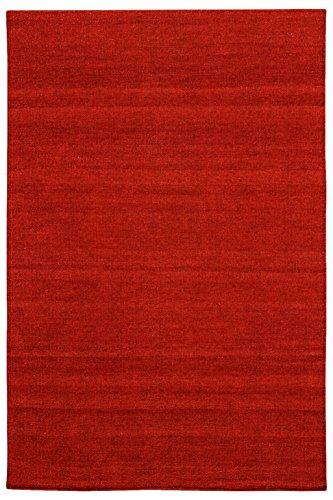 Morgenland Kelim Teppich FANCY Rot Einfarbig Uni Wollteppich Kurzflor Handgewebt 200 x 80 cm Läufer