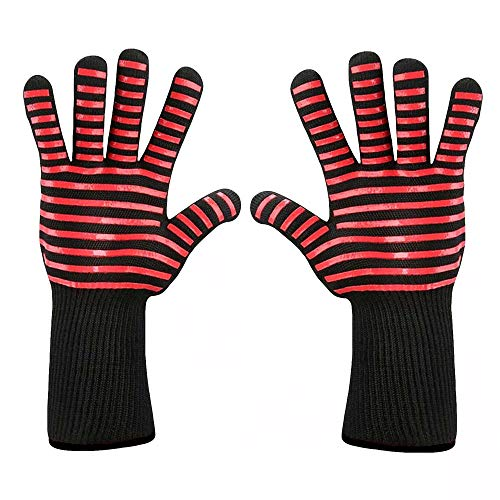 VEZARON Protective Grilling Mitts & Potholders BBQ Grilling Gloves Extreme Heat Resistant Grill Gloves, Food Grade Kitchen Oven Mitts,Silicone Non-Slip Cooking Gloves (A, 1PCS)