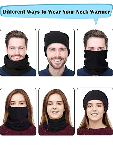 Blulu 4 Pieces Neck Warmer Ear Warmer Fleece Neck Gaiter Windproof Skiing Hiking Cycling Warmer for Adults and Kids (Color Set 2)