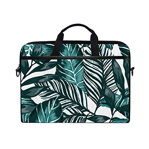 Laptop Sleeve Case,Laptop Bag,Tropical Green Leaves Palm Exotic Plant Water Briefcase Messenger Notebook Computer Bag with Shoulder Strap Handle,29×40 CM/15.6 Inch