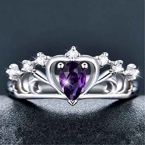 IWINO natuurlijke amethist edelsteen ring vrouwen verguld 925 zilveren opening kroon Japanse en Koreaanse kleur schat ring verjaardagscadeau