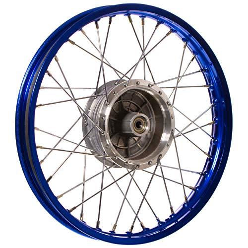 Rueda 1,50x 16pulgadas Llantas de aleación, Azul Anodizado Y Pulido + Cromo Buje de rueda radios (: graugussbrems Ring, abgedrehte micrómetro)