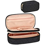 Small Makeup Bag, Relavel Cosmetic Bag for Women 2 Layer Travel Makeup Organizer Black Handbag Purse Pouch Compact Capacity for Daily Use, Makeup Brush Storage Holder, Waterproof Nylon, Two Way Zipper Close, Adjustable Divider (Black)