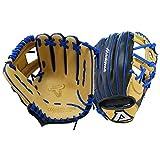 Akadema Prosoft Elite Series Baseball Infielders Gloves, Black/Sandstone/Royal, Left Hand , 11.5 Inches