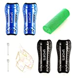 Shin Guards for Kids Youth Soccer Shin Guards 2 Pair Lightweight and Breathable Children's Calf Protectors for 3-10 Years Old Boys Girls Toddler Kids Teenagers (Black & Blue)