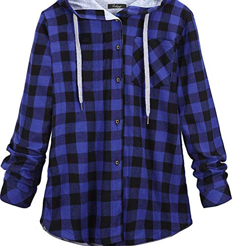 Autumn and Winter Women's Plus Size Mid-Length Plaid Hooded Cardigan Shirt