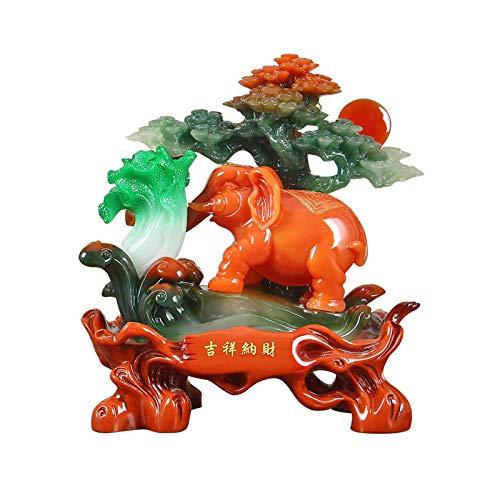 Decoración de escritorio Lucky Polyresin Elephant Decoration Moderno Chinese Crafts Elefante Estatua Inicio Sala de estar Vino Decoración Decoración TV Gabinete Feng Shui Ornamento Decoración de ofici
