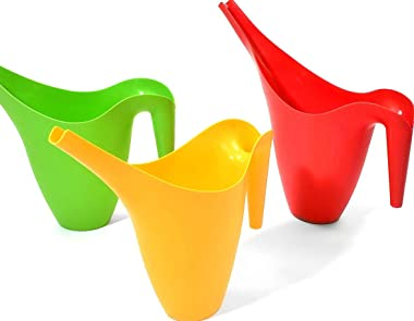 Ashman Set of 3 Watering Can, Indoor and Outdoor Use, Red, Green, Yellow, 2 Liter Capacity, 3 Pack