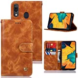 Galaxy A30 Case, Galaxy A20 Case for Girls, Zoeirc PU Leather Wallet Flip Folio Protective Phone Case Cover with Card Slots and Stand for Samsung Galaxy A30/A20 (Khaki)