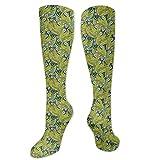 Calcetines de pollo, madre naturaleza, pensamiento florece campo con hojas grandes, diseño de selva, ideal para correr, atletismo, senderismo, viajes, vuelo