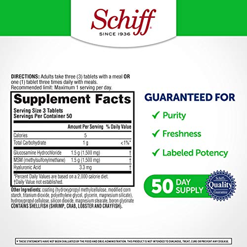 Schiff Glucosamine 1500mg Plus MSM 1500mg and Hyaluronic Acid, 150 tablets - Joint Supplement