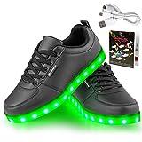 Angin-Tech Serie de Adultos Zapatillas LED USB de Carga de 7 Colores de Luz Zapatillas con Luces del Zapato por la Fiesta de Baile de Navidad de San Valentín con el CE Certificado(Black,38)