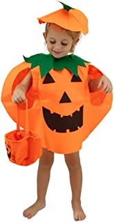 Halloween Pumpkin Costume for Kids 3t 4t 5t 6t 7t Boys Girls Children Cosplay Party Dress Up Cloth (Orange)