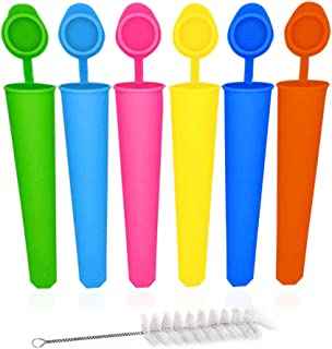 Silicone Ice Pop Molds Attached Lid BPA free Multicolored Ice Popsicle Molds Durable Reusable Set of 6pcs the Brush Free o...