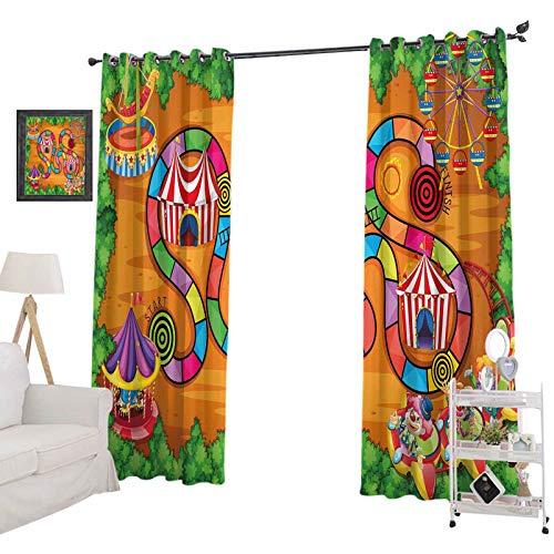 YUAZHOQI - Cortina opaca para ventana de carnaval en la ciudad, personajes de circo, carpas de campaña, ruta de ruta, curvas, bosque, 132 x 160 cm, cortinas opacas para dormitorio multicolor