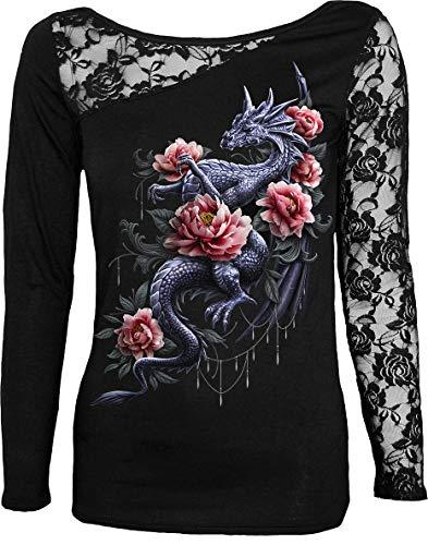 Spiral Dragon Rose Slant Mujer Camiseta Manga Larga Negro XXL, 95% Viscosa, 5% elastán, Estrechos