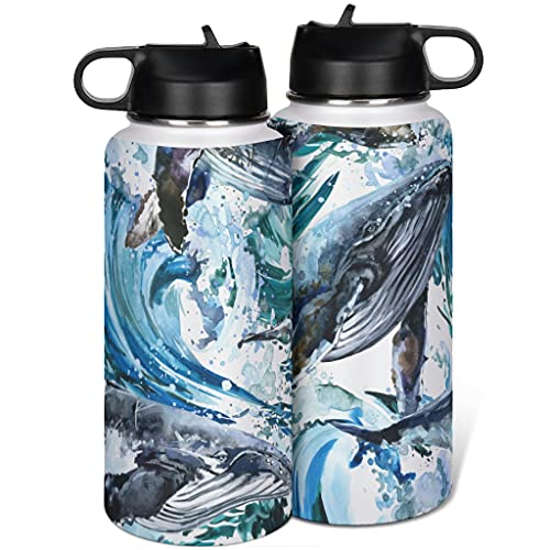 Whale - Botella de agua de acero inoxidable con tapa de pajita simple para viaje por carretera blanco 1000 ml (32 oz)