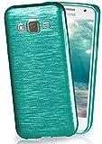 MoEx® Funda de Silicona con Aspecto Aluminio Cepillado Compatible con Samsung Galaxy J5 (2015) en Turquoise