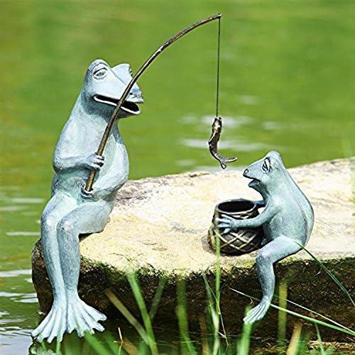 Ebros Latest item Large Verdi Green Aluminum Max 80% OFF Mama Fishing and Frog Baby