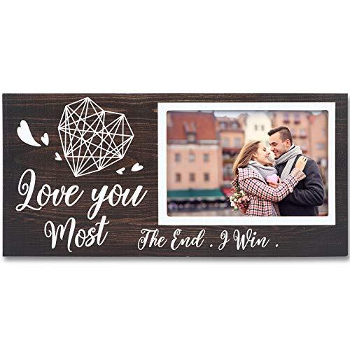 Marco de Fotos Romántico de Love You Most the End I Win Marco de Fotos de Amor de Novio Novia Parejas Regalo para Centros Mesa Pared Letrero Rústico para Foto 4 x 6 Pulgadas