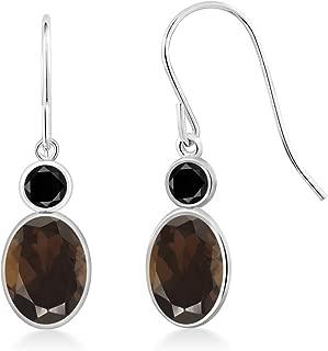1.70 Ct Oval Brown Smoky Quartz Black Diamond 14K White Gold Earrings