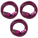 3X 50cm [3-Pack] Premium Nylon USB 8-Pin Ladekabel Datenkabel Set kompatibel mit [Apple iPhone XS XS Max XR X 10 8 8Plus 7 7Plus 6S 6SPlus 6 6Plus 5S 5C 5 SE, iPad, iPod Touch, iPod Nano] pink