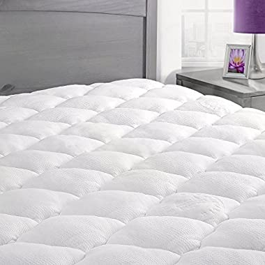 Rayon From Bamboo Mattress Pad with Fitted Skirt - Extra Plush Cooling Topper - Hypoallergenic - Made in the USA, California King