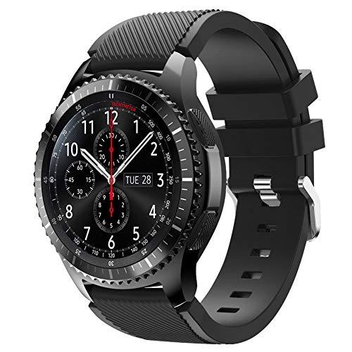 Vozehui Armband Kompatibel mit Samsung Galaxy Watch 3 45mm/Galaxy Watch 46mm/Samsung Gear S3 Frontier/Huawei Watch GT/Huawei Watch 2 pro Smartwatch, 22mm Silikon Sport Wrist Band für Herren Damen