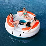 DNNAL Silla Inflable flotadores, Multijugador Cama Flotante Inflable Lazy Days River Island Grande Plataforma Flotante Inflable Flotante del Amortiguador reclinable Flotante Barco en el mar