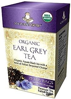 Nature's Guru Organic Whole Leaf Black Tea Earl Grey 25 Count Individual Tea Bags