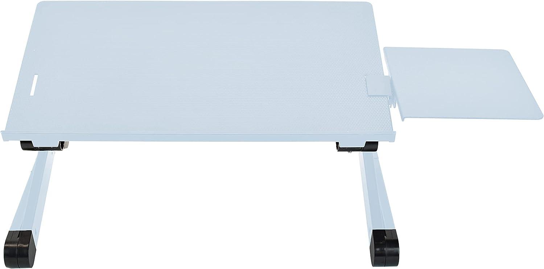 WorkEZ Best Adjustable Laptop Cooling Stand & Lap Desk for Bed Couch w/ Mouse Pad. Ergonomic Height Angle tilt Aluminum Desktop Tray Portable MacBook pro Computer Riser Table Cooler Folding Holder