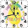 四角い時計パイナップルのような甘い夏とかわいい大きな目フルーティーなハワイアンおしとやかなサイレントホームオフィスの装飾非カチカチ時計