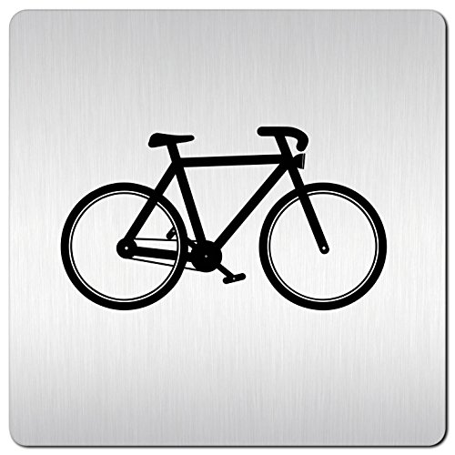 Kinekt3d Leitsysteme XXL Schild - Türschild • 125 x 125 mm • Fahrradkeller – Fahrrad Piktogramm • 1,5 mm Aluminium Vollmaterial • 100% Made in Germany