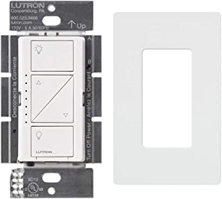 Lutron PD-6WCL-WH Caseta Wireless Smart Lighting Dimmer Switch With Screw Less Wall Plate, White