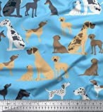 Soimoi Blue Heavy Canvas Fabric Mix Dog Print Upholstery Fabric, Fabric for Home Accents Fabric by Yard 58 Inch Wide