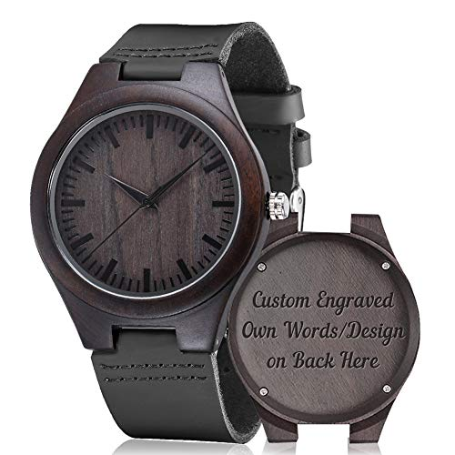 Engraved Wood Watches, shifenmei S5520 Wooden Watch Personalized Gifts Customized Watch for Men Women Husband Wife Groomsman Birthday Wedding Anniversary Graduation Christmas (Custom)