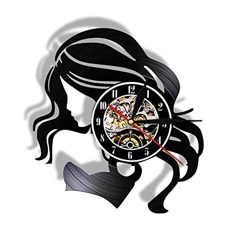 Usmnxo Reloj de Pared con Disco de Vinilo para Mujer de Pelo Largo Reloj de Pared de peluquería para Mujer LED con lámpara de 12 Pulgadas (30 cm)