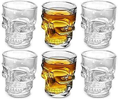 Circleware Skull Face Heavy Base Whiskey Shot Glasses, Set of 6, Party Home and Entertainment Dining Beverage Drinking Glassware for Brandy, Liquor, Bar Decor, Jello Cups, 1.75 oz, Clear
