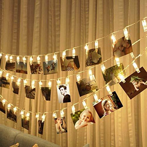 30 LEDs Foto Clips Lichterketten Warmweiß-3M Fotolichterkette Wanddekoration für Foto Memos Kunstwerke Weihnachten Geburtstag Valentinstag Hochzeit Party Romantische Deko